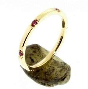 6-Ruby-Eternity-14-K-Comfort-Fit-Gold-Wedding-Band-or-Stacking-Rings-U-pave