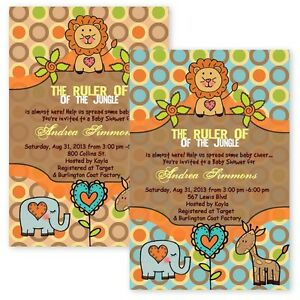 Baby shower invitations king of the jungle lion giraffe custom image is loading baby shower invitations king of the jungle lion filmwisefo