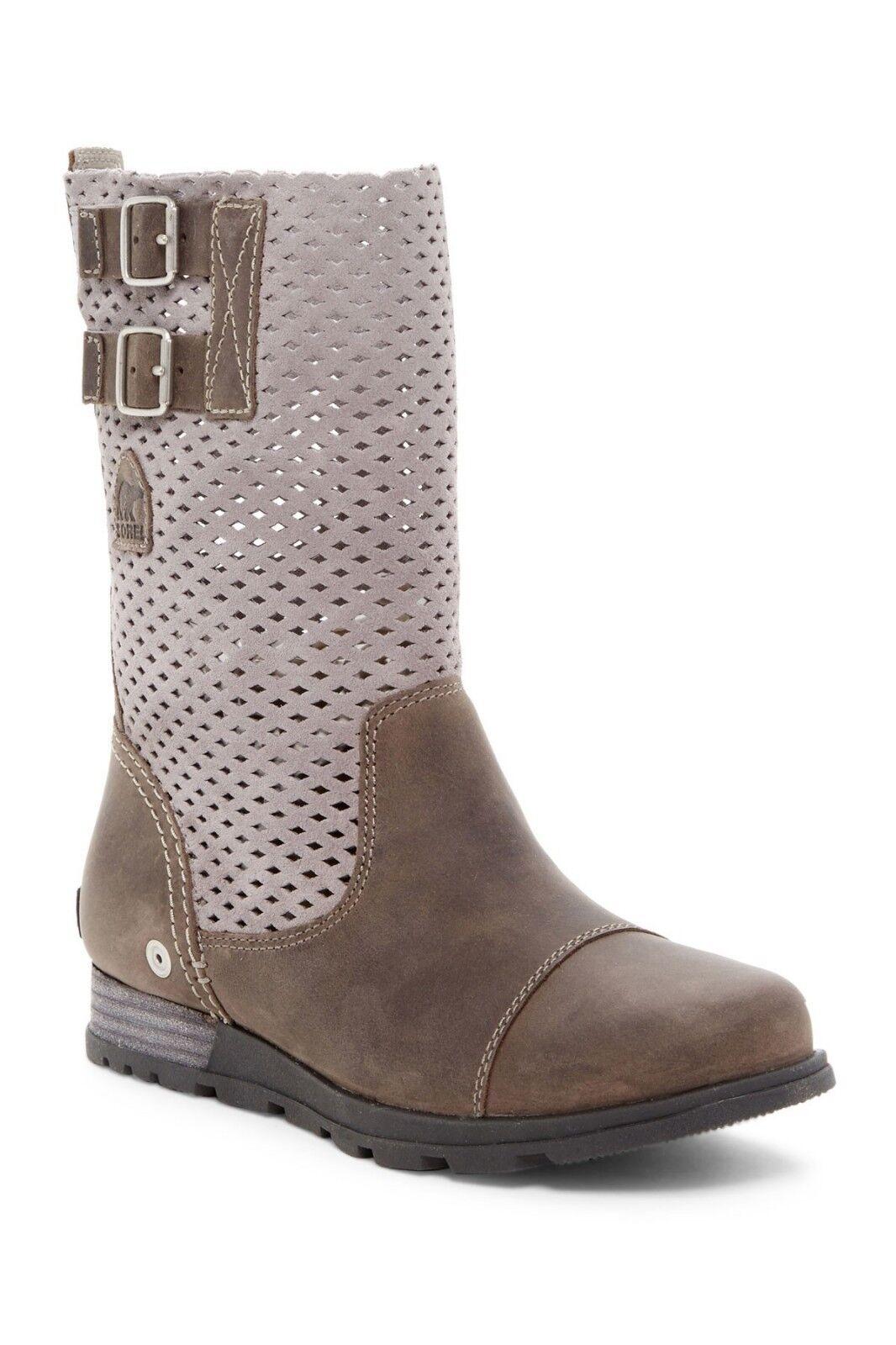 acquistare ora SOREL stivali stivali stivali Major Pull On Perforated Mid Calf Leather Suede avvioies grigio 7 7.5  ordina adesso