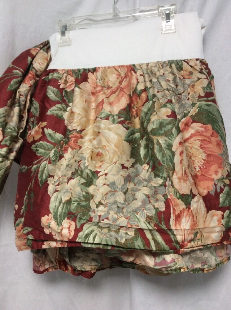 Ralph Lauren Bed Skirt QUEEN rust Peach Green Floral French Country Classic P4