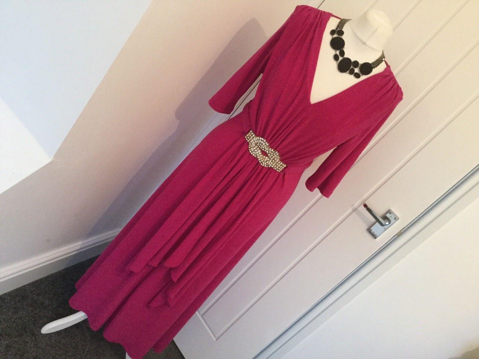 BNWT Savoir Hot Pink Evening Gown Dress Elegant Christmas Diamanté Trim Size 14