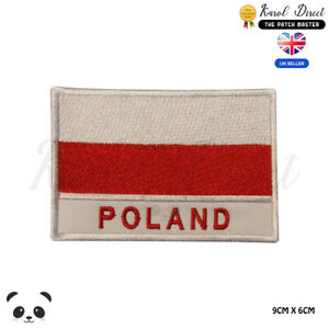 POLAND-National-Flag-With-Name-Embroidered-Iron-On-Sew-On-Patch-Badge
