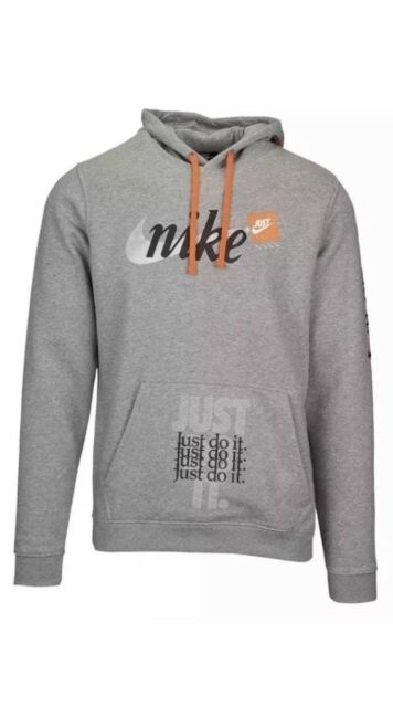 NEW Sz L Nike JDI Just Do It Hoodie Grey Graphic All Over Print AV5905 063