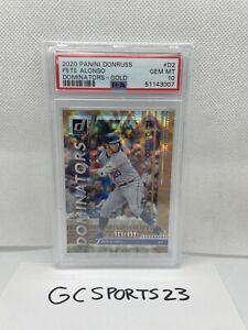 POP 1! 2020 Pete Alonso Rookie Card Donruss Dominators GOLD /999 PSA 10 Mets #d2