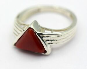 2-65-Ct-Natural-Coral-Ring-925-Sterling-Silver-Size-7-Italy-Gemstone