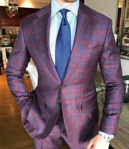 Purple-Men-039-s-Formal-Suits-Windowpane-Business-Party-Groom-Tuxedos-Tailored-Fit