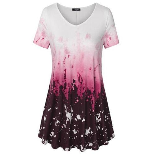 Damen Blume Oberteile Tunika Tops Shirt Sommer Kurzarm T-Shirts Bluse Gr.34-48