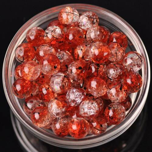 10pcs 10mm 12mm Round lines Crack Crystal Glass Loose Spacer Beads DIY Findings