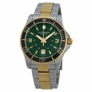 NWT-Victorinox-Swiss-Army-241605-Maverick-Watch-Green-Stainless-Steel-gold