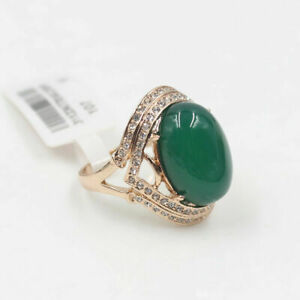18K-Rose-Gold-Filled-8ct-Emerald-Green-Jade-Engagement-Eternity-Ring-size-8