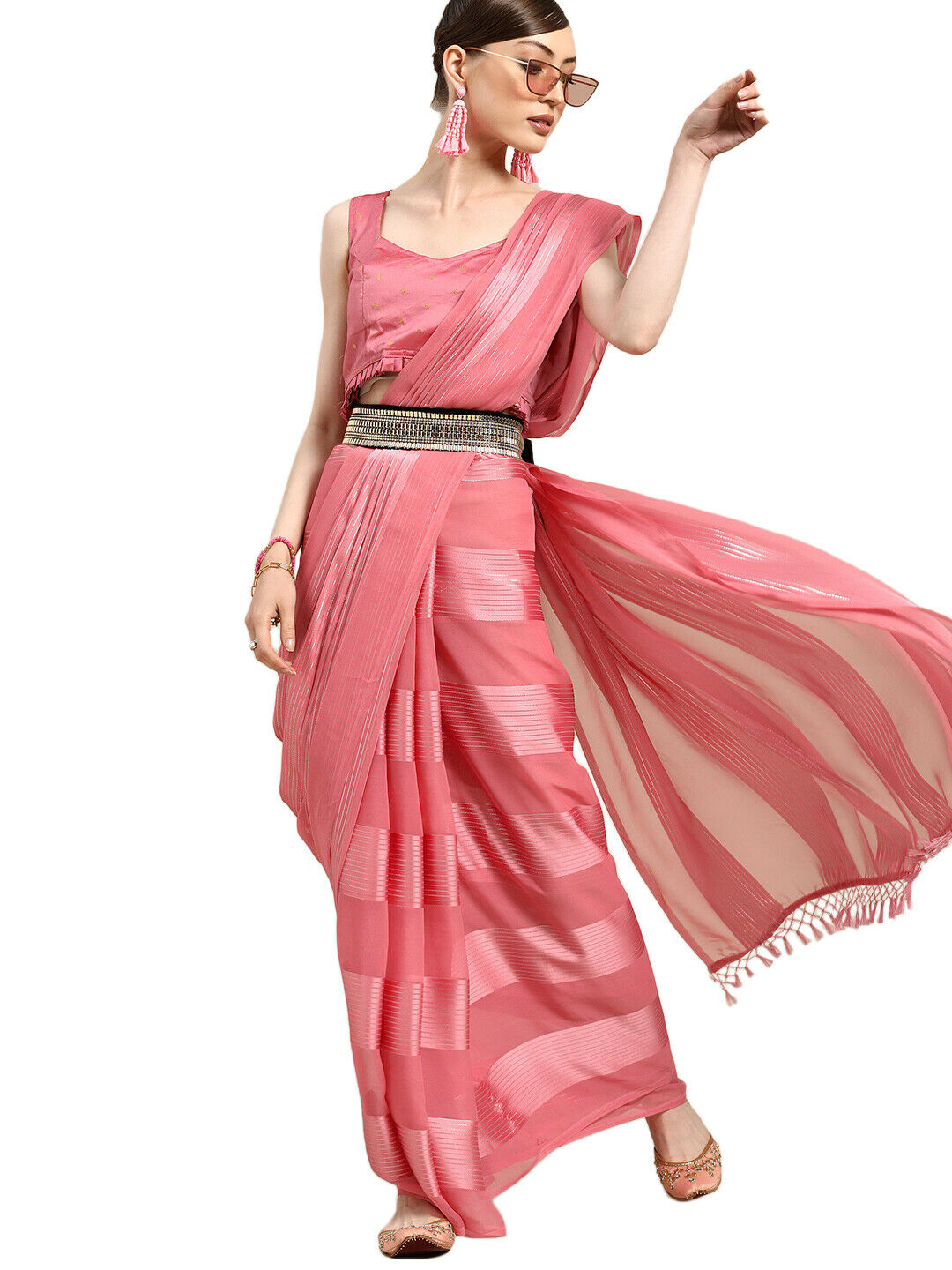Indo-Western Sari Polyester Striped Pink Traditional New Look Saree For Women