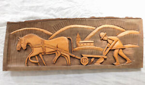 Vintage-carved-wood-panel-wooden-picture-Farmer-and-horse-plough-French-folk-art