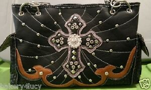 Image Is Loading Bhw Western Style Black Tan Silver Accent Rhinestone