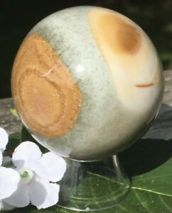 171.4g  PRETTY NATURAL JASPER POLISHED CRYSTAL HEALING SPHERE Madagascar REIKI
