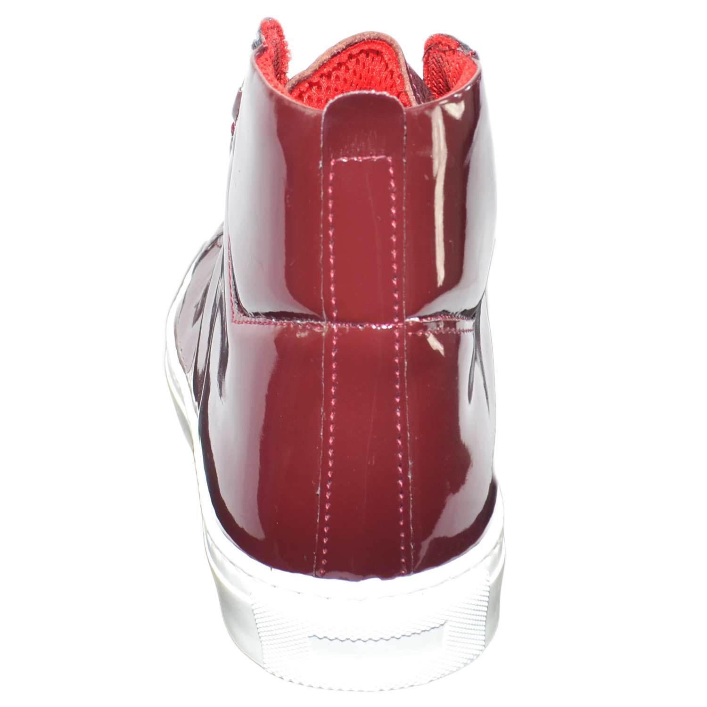 alta scarpe bale uomo sportivo made in vera italy vera in pelle lucido bordeaux b26869