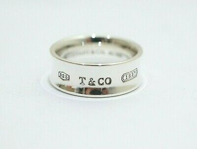 30a35e1d0fcf7 Tiffany & Co. Sterling Silver 7mm Wide 1837 Concave Band Ring Size 5