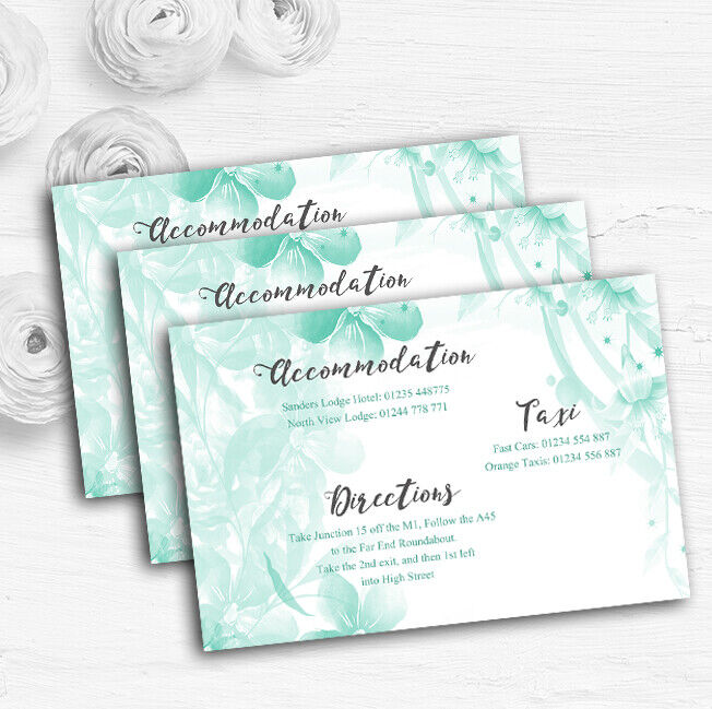 Grün Watercolour Floral Personalised Wedding Guest Information Cards