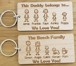 PERSONALISED-CHRISTMAS-GIFT-BIRTHDAY-KEYRING-FAMILY-PORTRAIT-DADDY-DAD-FATHERS