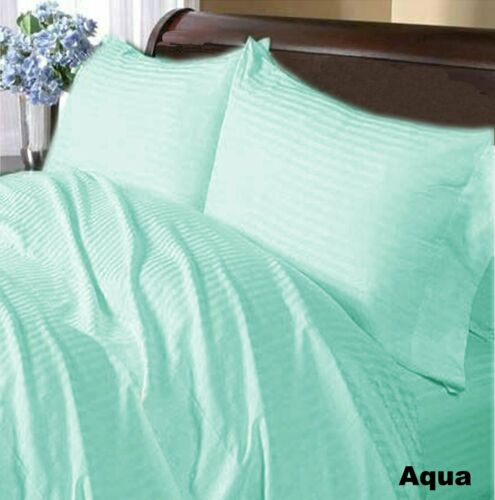 Home Sheet Set-Fitted//Flat//Bed Skirt 1000 TC Egyptian Cotton Aqua Blue Striped