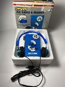 1982-Vintage-Smurf-AM-Radio-amp-Headset-Solid-State-NO-RS-19-Powertronic-Nasta
