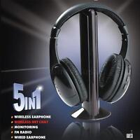 5 IN 1 WIRELESS CORDLESS HIFI HEADPHONES HEADSET FM RADIO W MIC TV CD MP3 4 SD8H