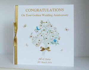 large personalised golden 50th wedding anniversary card mum dad