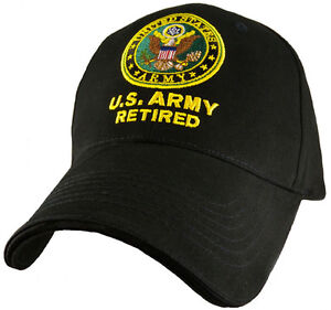 4d3da2d2c714e Image is loading U-S-Army-Retired-Hat-Army-Seal-Black-Baseball-