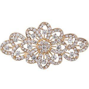 EVER-FAITH-4-Inch-Bridal-Gold-Tone-Flower-Ribbon-Brooch-Clear-Austrian-Crystal