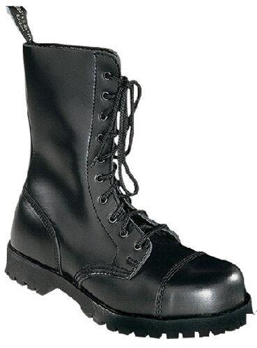 Stiefel & Braces 10-Loch Stiefel mit Stahlkappe Leder Größe EUR 46 Schwarz