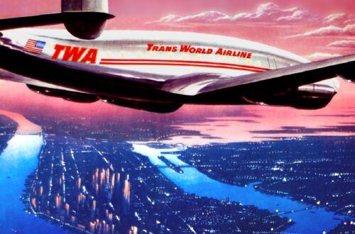 TWA Trans World Airlines Poster Constellation New York Travel Art Print 056