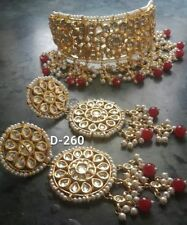 White Pearl Kundan Gold Tone Bollywood Choker Necklace Set Bridal Jewelry r223