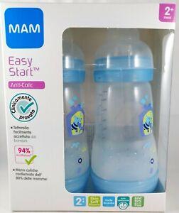 2-x-MAM-Biberon-EASY-START-260ml-anticolica-tettarella-flusso-2-mesi-2-azzurro