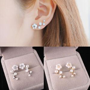 Image Is Loading 1 Pair Women Elegant Crystal Pearl Flower Ear