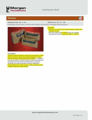 K26 Insulating Firebrick 9x4.5x2.5 Thermal Ceramics 24 Bricks 12lbs KBond Mortar