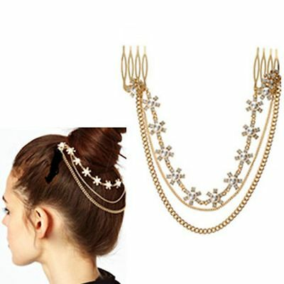 Fashion Hair Wear Metal Chain Tassel Pearl Tiara Comb Upscale Hair Accessories