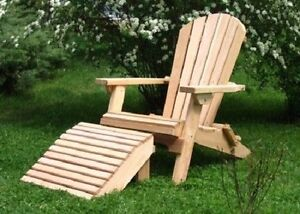 Amish Made Cedar Folding Adirondack Chair with Ottoman