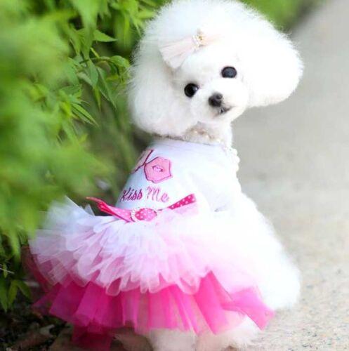 Dog Cat Lace Dress Pet Princess Skirt Puppy Teddy Clothes for Party XXS-2XL