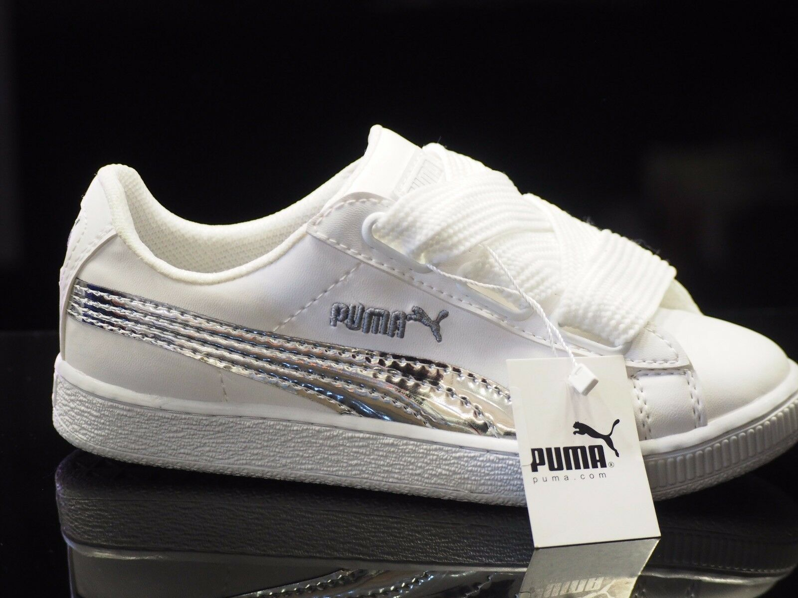 Puma Suede Heart Satin,White,Black Womens Womens Satin,White,Black Sneakers a42582