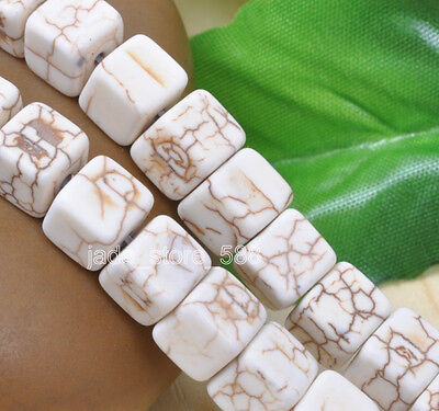 Wholesale 50pcs White Turquoise square Loose charm spacer Beads 8mm JA699