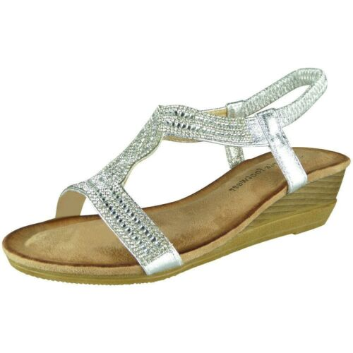 Womens Ladies Elastic Strap Comfy Mid Heel Bling Summer Peeptoe Sandals Shoe Siz