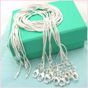 10PCS-16-28-inches-925-Sterling-Solid-Silver-Snake-Chain-Necklace-Wholesale-Set