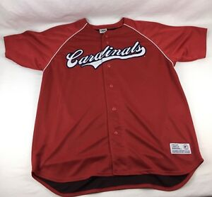 best website f784c 3f152 Details about Vtg Dynasty St Louis Cardinals Mens XL Shirt Button Front  Baseball Jersey Poly