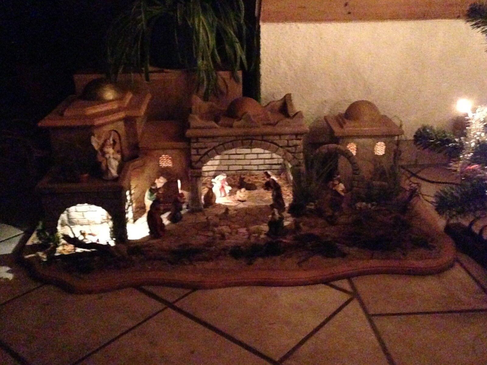 XXL Krippe  Handarbeit  mit mit mit Beleuchtung  Holz  Natur  LAST MINUTE ANGEBOT fd53d2