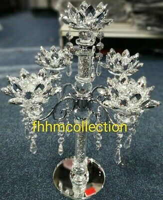 Crushed Diamonds Candle Holder Silver Crystals Filled Tall 5 Tier Romany Bling