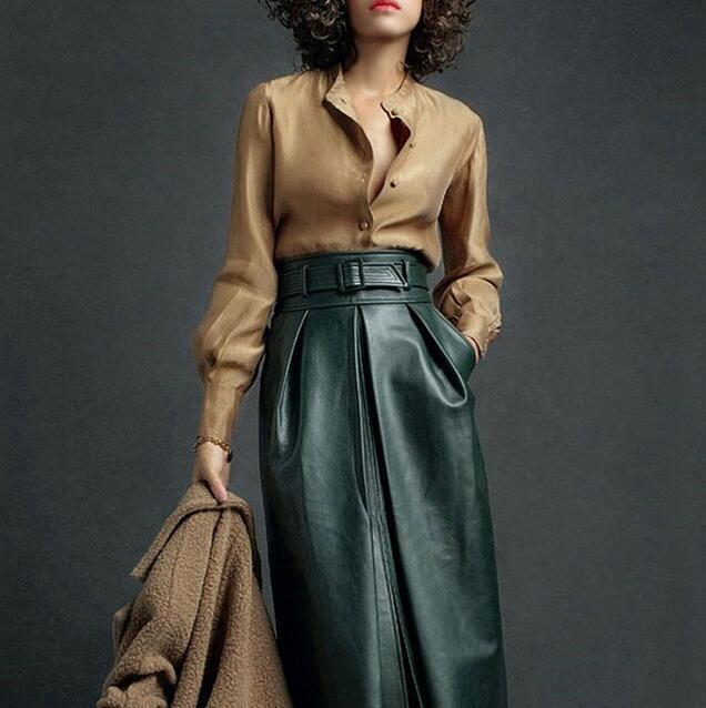 Womens 2PCs Pu Leather Slim Fit Coats Dress A-type Skirts Casual Shirts Dress