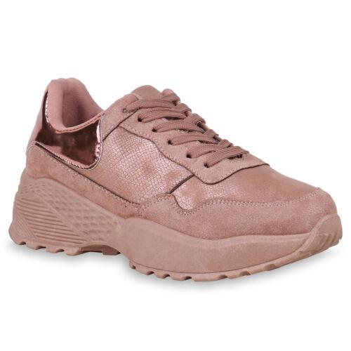Damen Plateau Sneaker Metallic Print Turnschuhe Lack Plateauschuhe 824036 Schuhe