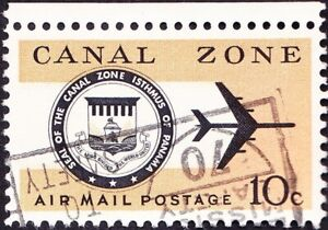 Canal Zone - 1968 - 10 Cents Jet Plane & Canal Zone Seal Airmail Issue #C48 VF