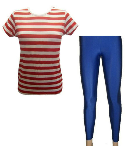 Red /& White Striped T-Shirt Top Royal Blue Leggings Fancy Dress Size 8-22