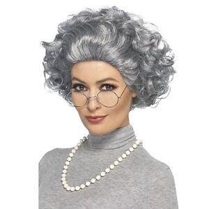 Femme Perruque femme mamie chignon Gangster Déguisement vieille dame Accessoire