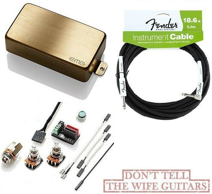 EMG HZ H4A BRUSHED Gold PASSIVE HUMBUCKER PICKUP SHORT SHAFT POTS ( FENDER 18FT)